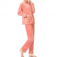 fimage有致600012女士睡衣套装纯色超柔水晶绒保暖翻领家居服